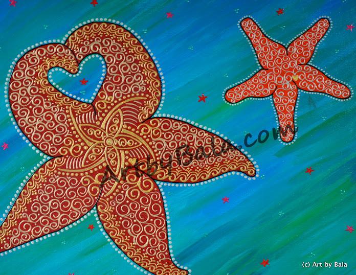 Henna style acrylic starfish painting on canvas