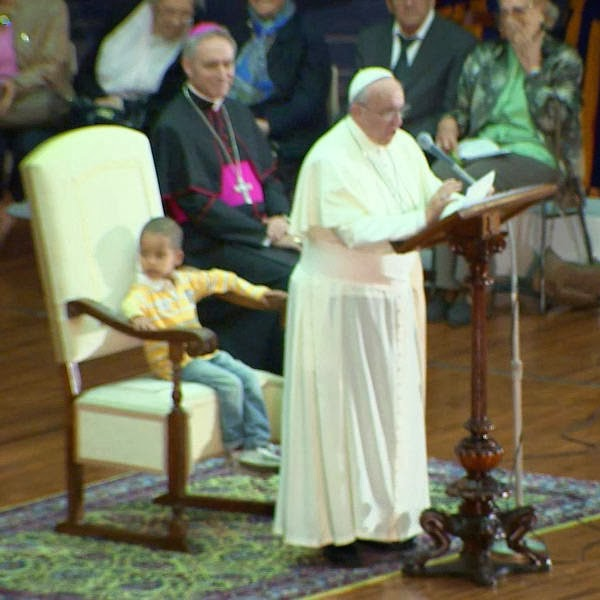 Pope Francis was delivering a homily but a little boy stole the show.