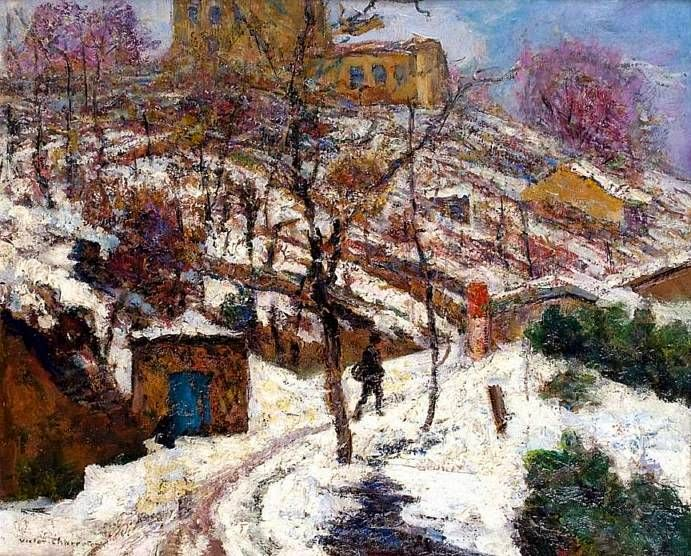Victor Charreton - Coteaux de vigne sous la neige a Noel