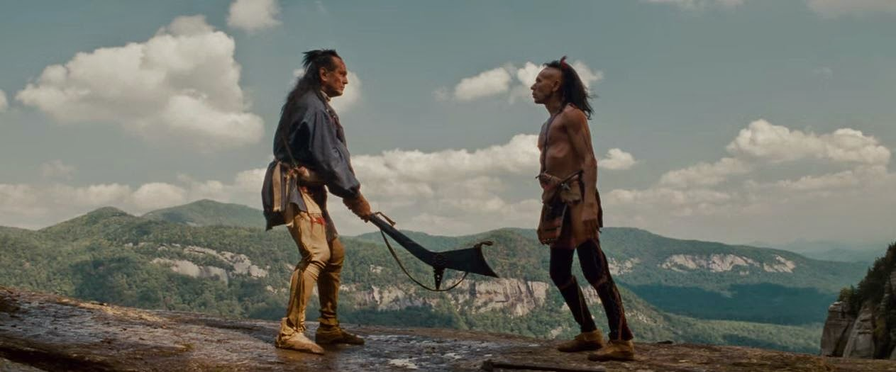Preparing for the kill. The spectacular setting for the final confrontation between Chingachgook and Magua.