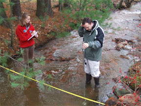 OSM/VISTAs Megan Blackmon and Mike Stanton teach volunteers to monitor water quality in Schuylkill County, PA
