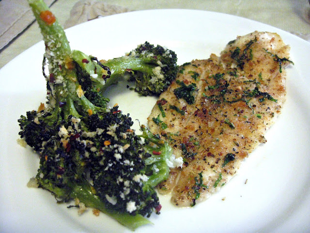 Baked Italian Flounder with Spicy Oven Roasted Broccoli (Pesce al Forno con Broccoli Piccante)