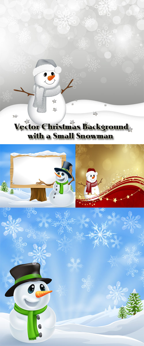 Stock: Vector Christmas Background with a Small Snowman