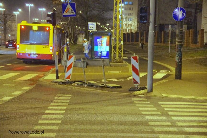 Widok skrzyżowania z ul. Radwańską w piątek 23 stycznia 2015