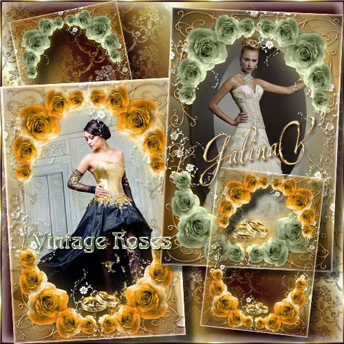 Свадебная фоторамка - Винтажные розы