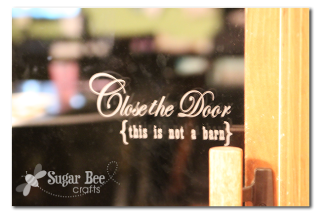 etched glass vinyl - close the door