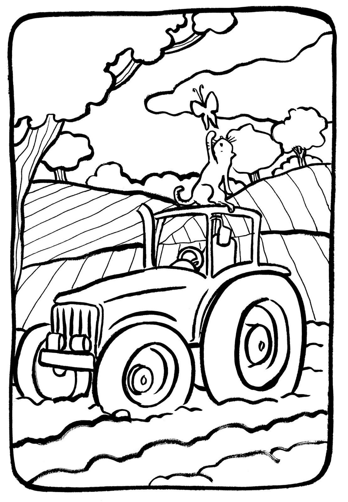 dessin tracteur colorier