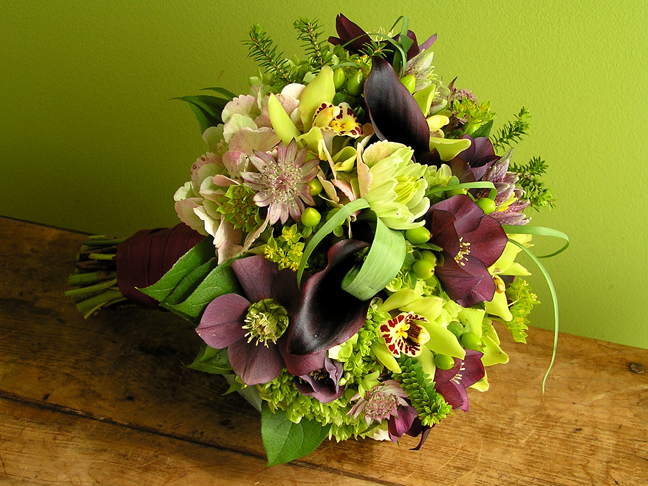 hellebores astrantia cymbidium hydrangea calla wedding bouquet