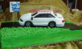 1991 Ford mustang custom designed fondant car on butter cream birthday cake