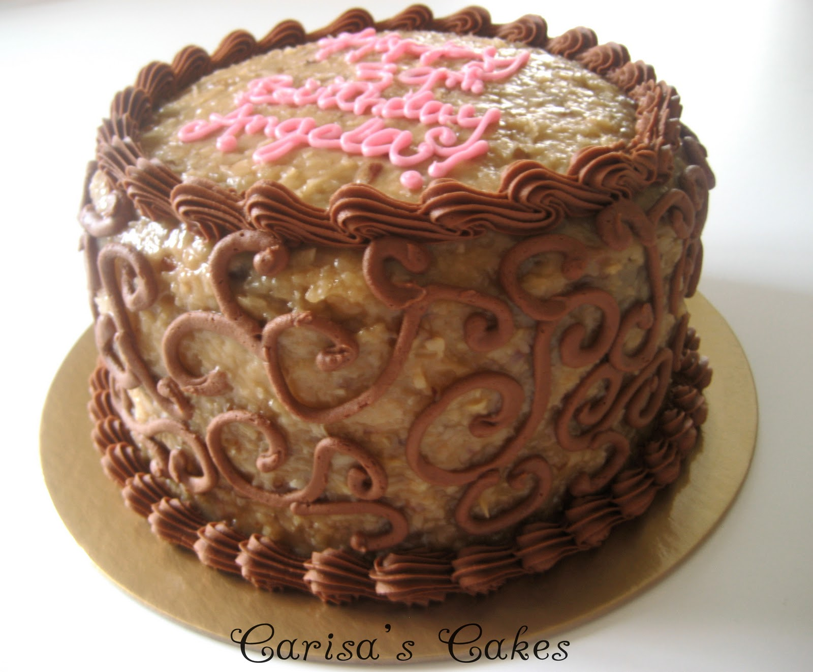 "Carisa's Cakes: 8"" Double Layer German Chocolate Cake"