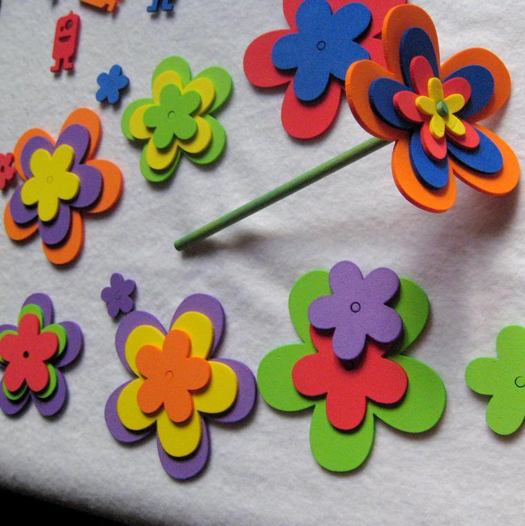 Pack de corazones estrellas flores y hojas de goma eva - Flores con goma eva ...