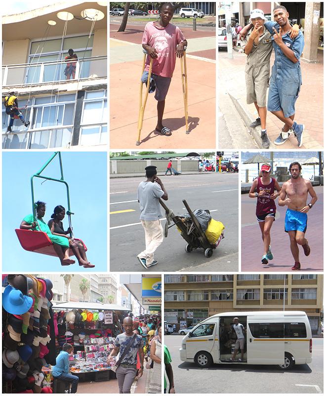 mensen op straat in Durban, Zuid Afrika - collage