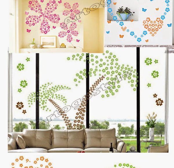 50 Bold And Inventive Dining Rooms With Brick Walls: 10x108 Pcs 12 Color Flowers Wall Decor Sticker Removable