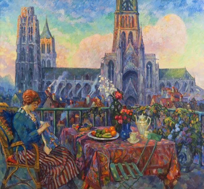 Robert Antoine Pinchon - Jeune Femme au balcon, la cathédrale de Rouen