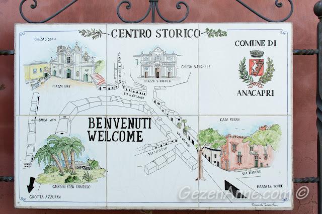 Anacapri'de tarihi merkez haritası, Capri adası