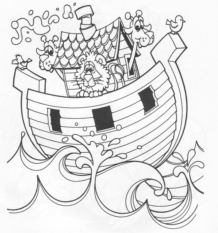 Arca de noé con animales para colorear