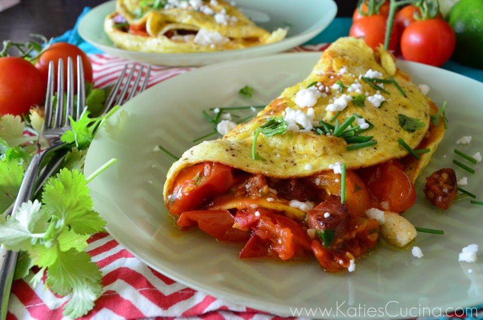 Cherry Tomato and Chorizo Omelette