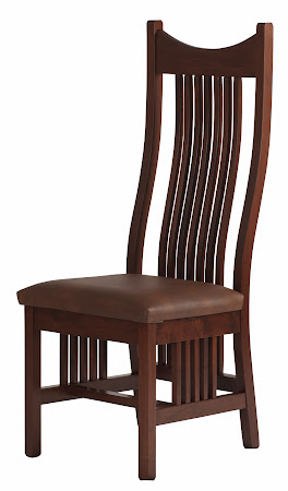 Western Dining Chair in Chocolate Cherry with Leather Seat