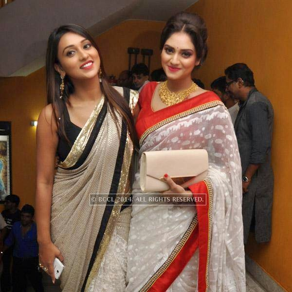 Mimi and Nusrat during the premiere of bengali film Bindaas at Navina in Kolkata.
