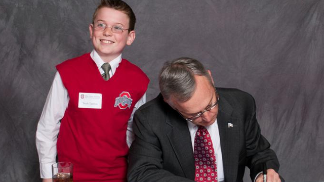 Your Freudian Nightmare of the Night: A kid dressed up as Jim Tressel