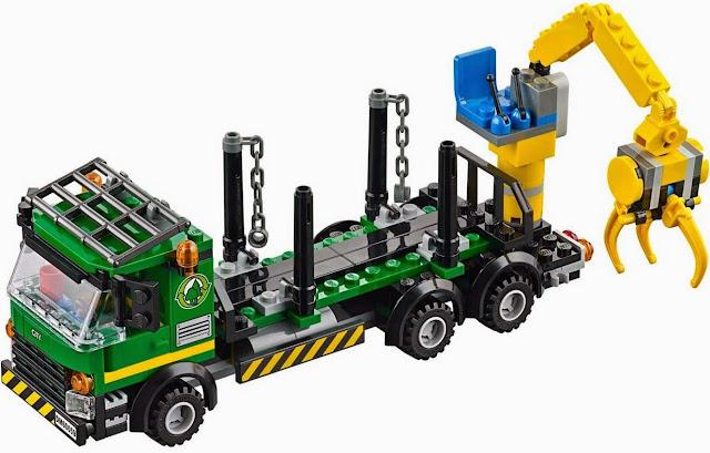 Hệ thống cần cẩu và ròng rọc hiện đại trong bộ Lego 60059 Logging Truck