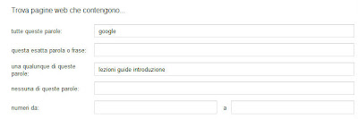 Screen shot showing how to find tutorials or introductions to Google using the Advanced Search form.