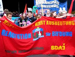 Jugendliche Demonstranten mit Schildern und Transparenten.