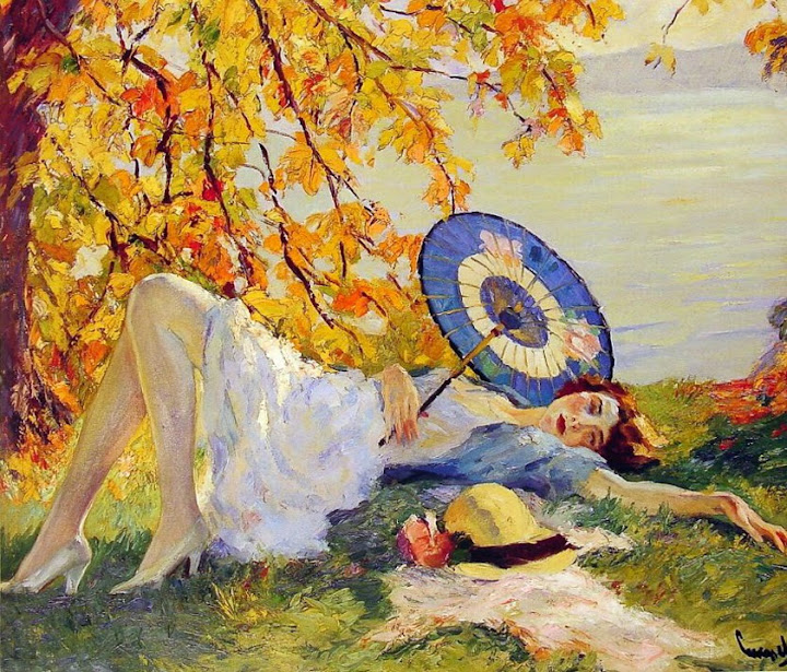 Edward Cucuel - Woman Reclining by a Lake