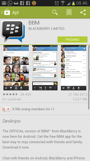 Download BBM on Android Play Store