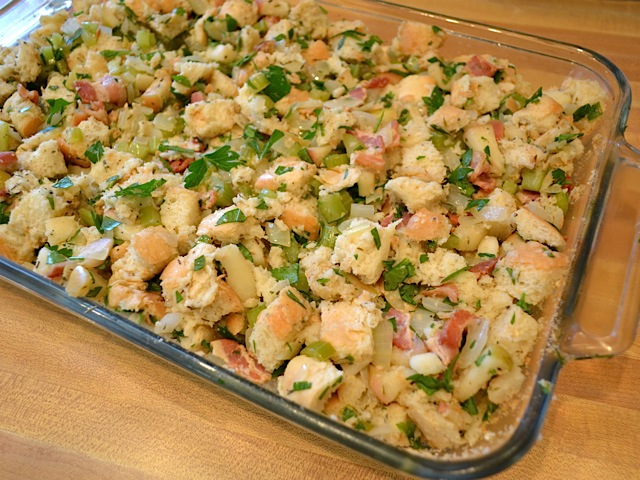 transfer stuffing to baking dish