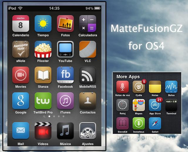 Matte Fusion GZ SD Theme For IOS 4