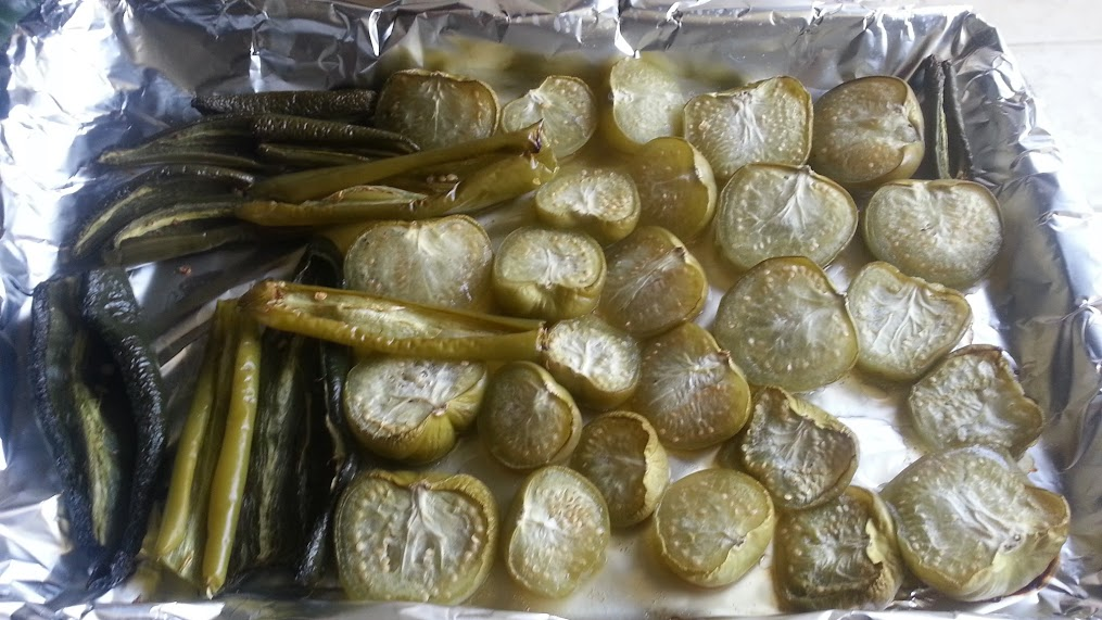 Roasted tomatillos and chiles for Chile Verde - Daniel Fast Recipe