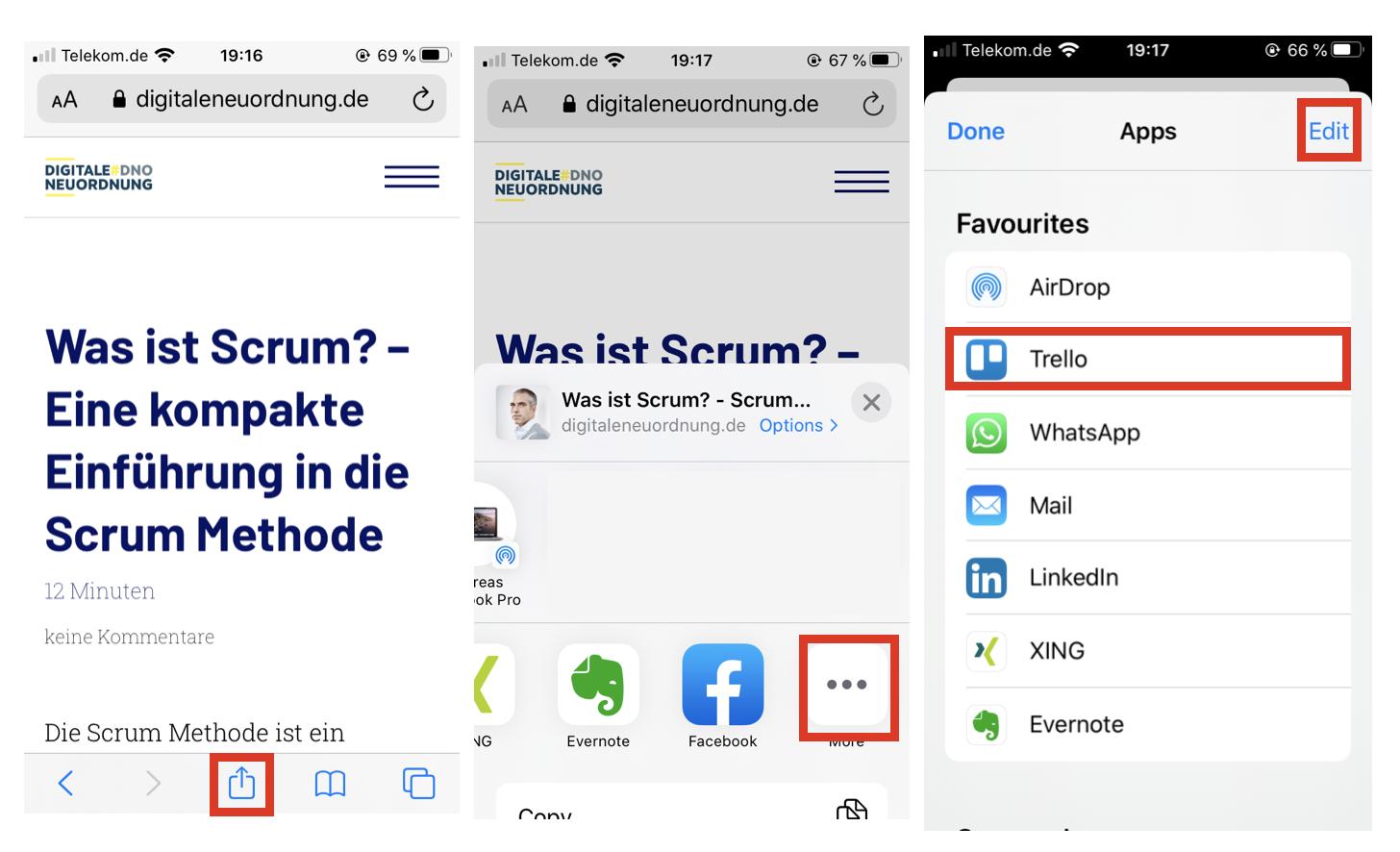 So fügst Du Trello deinem Sharing Menü unter iOS zu. © Andreas Diehl