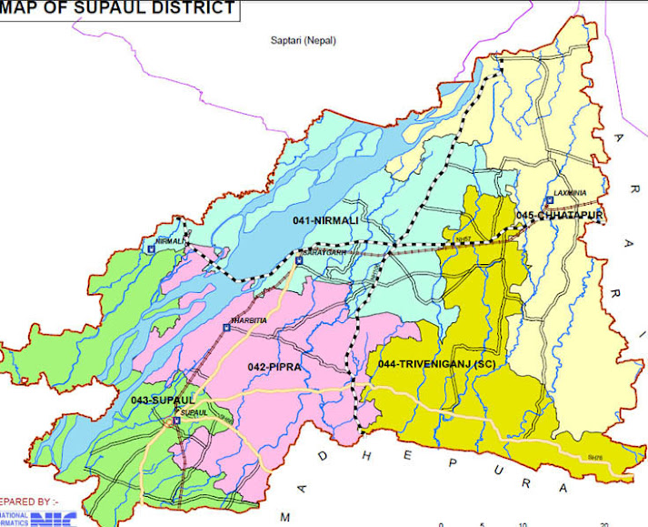 supaul district bihar assembly elections 2015 constituency map image