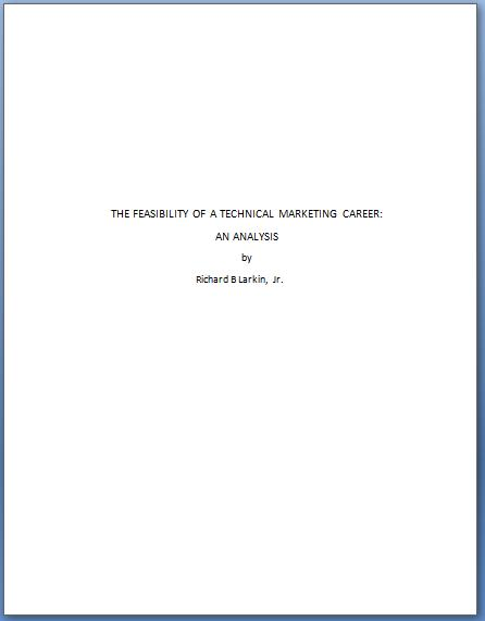 technical report cover page