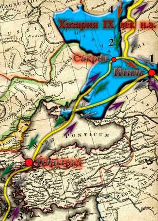 Фото: Торговые пути через Хазарский каганат