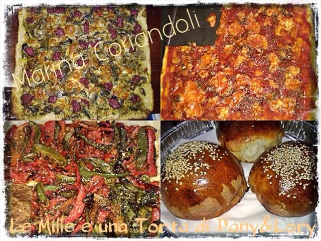 pizza farcita e panini imbottiti con salsiccia e formaggio