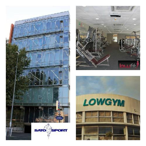 Fotografía de la fachada de Sato Sport Santa Justa, a la izquierda, imagen de la fachada de Lowgym, abajo a la derecha, e imagen de las instalaciones de Lowfit Sevilla Este, arriba a la derecha.