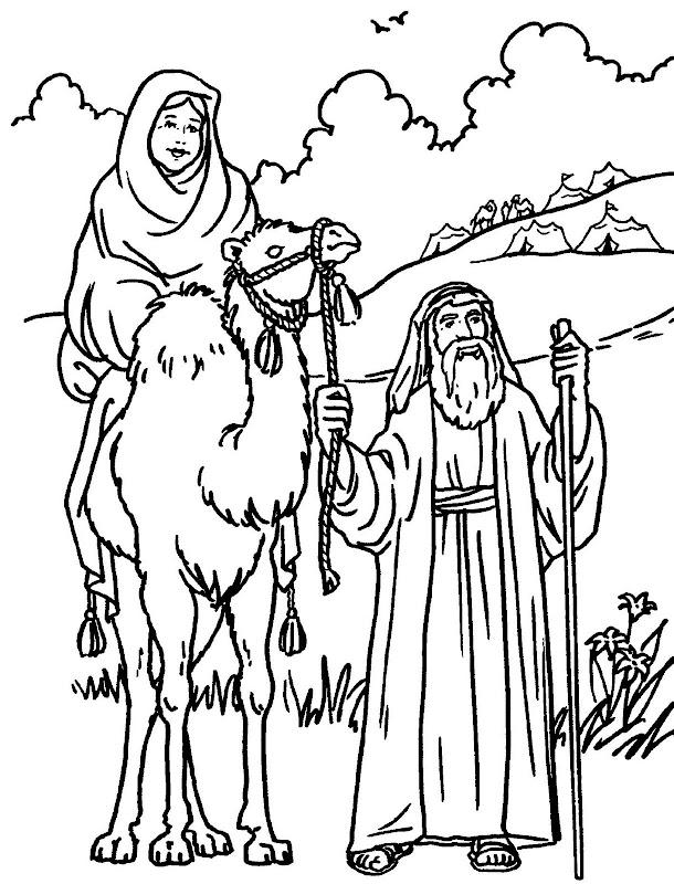 Abraham y Sara para colorear