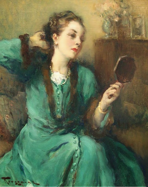 Fernand Toussaint - Lady in the Green Dress with Mirror