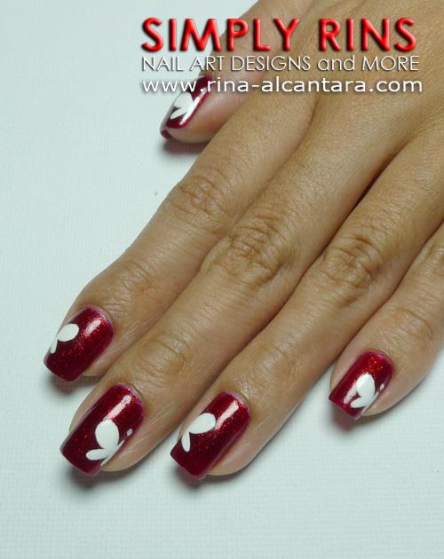 Half White Butterflies Nail Art Design