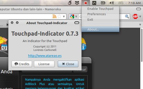Touchpad Indicator di Ubuntu 10.10