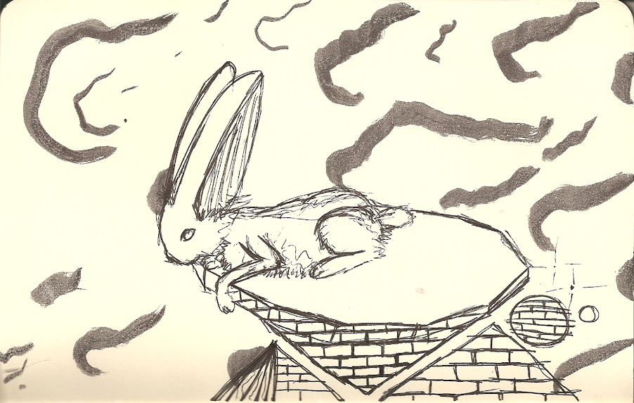 rabbit on a tower over clouds