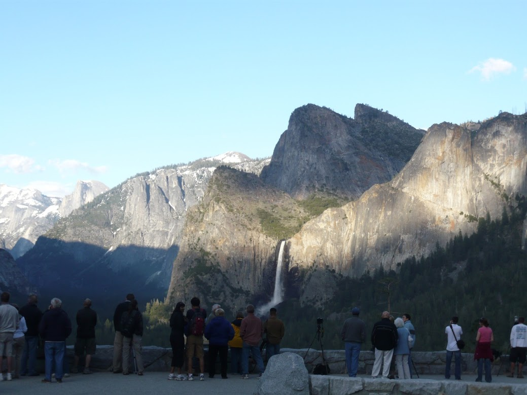 Crowds gather at Tunnel View in Yosemite National Park.