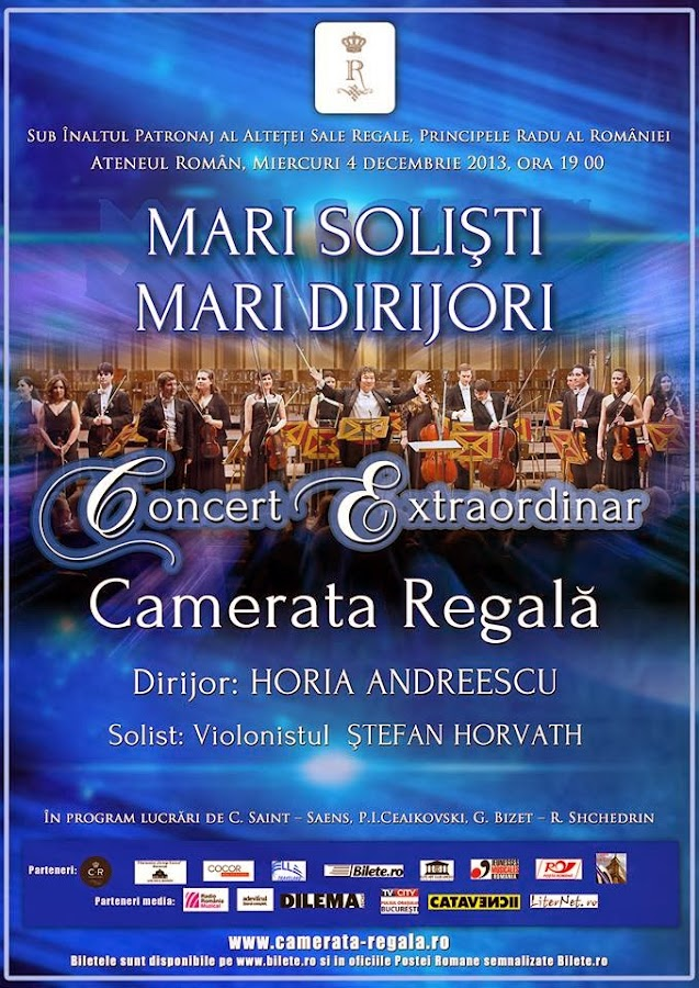 Concert extraordinar Camerata Regală, la Ateneul Român