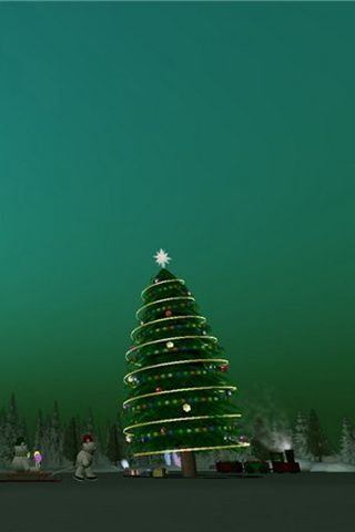 Christmas Tree Picture on Green Background For iPhone