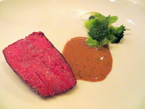 Castagna Snax: Beef culotte with broccoli and miner's lettuce from Castagna Restaurant