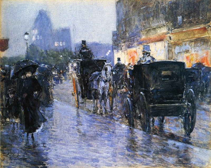 Childe Hassam - Horse Drawn Cabs at Evening, New York