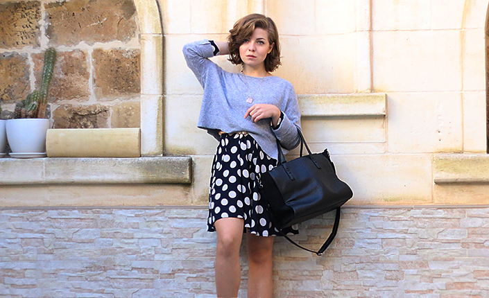 how to wear a dress with a jumper, short bob haircut, how to wear an oversized sweater, short hairstyle, dotted dress