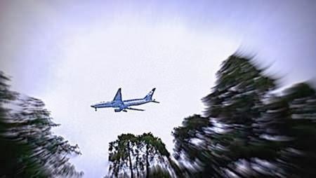 着陸態勢の飛行機